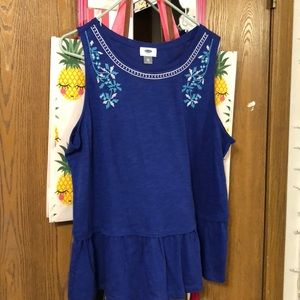 Royal blue babydoll tank top with embroider detail